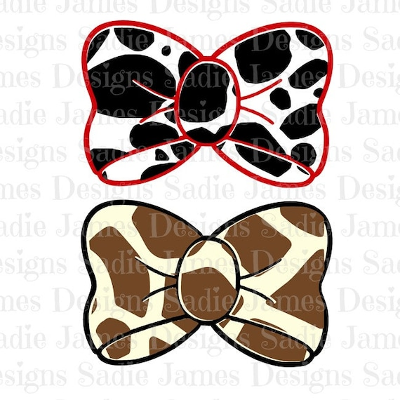 Dalmation And Giraffe Print Bow Svg And Silhouette Studio Etsy