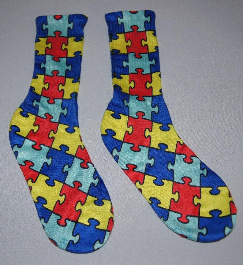 6707df20dba4 Autism Awareness Crew Socks Adult | Etsy