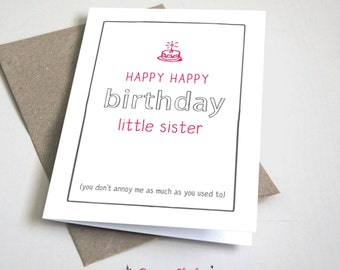 Happy Birthday Little Sister CARD Funny Siblings Card Pink And Grey 5x7 Folded Printable DIY Instant Download