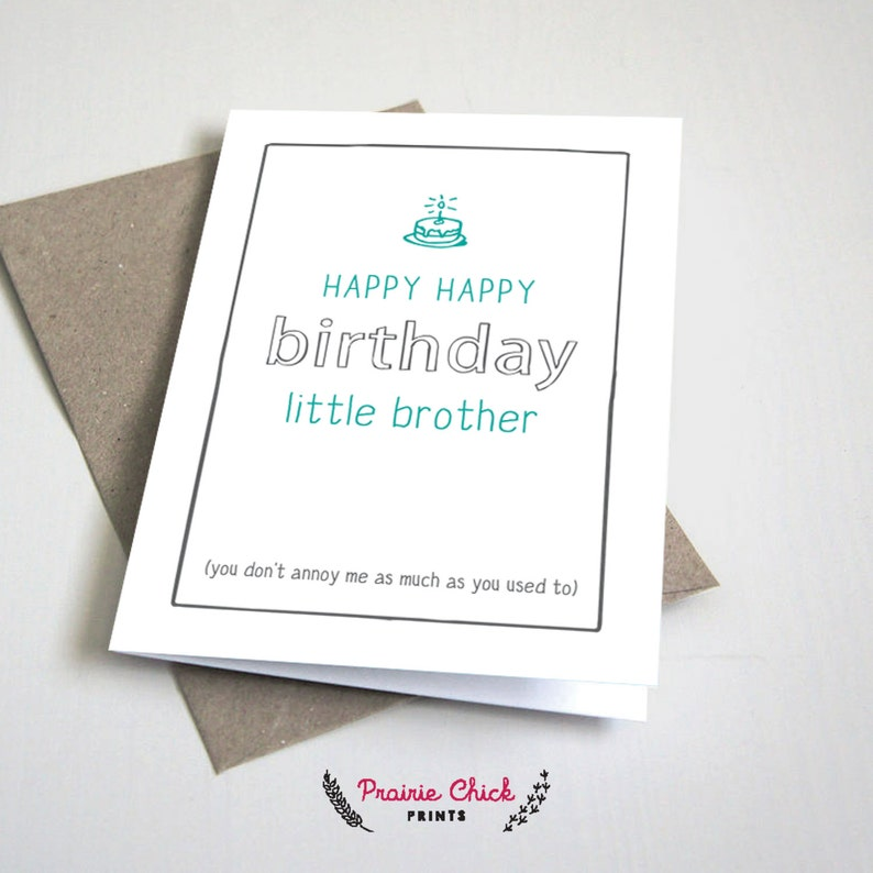 Happy Birthday Little Brother CARD Funny Siblings