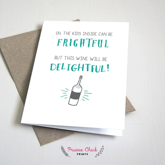 This Wine Will Be Delightful Teacher Thank You Card Funny Etsy