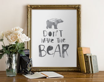 Don't wake the bear Wall Art / Children's room decor / Nursery / Custom colours / 8x10 Poster – Printable DIY, Instant Download