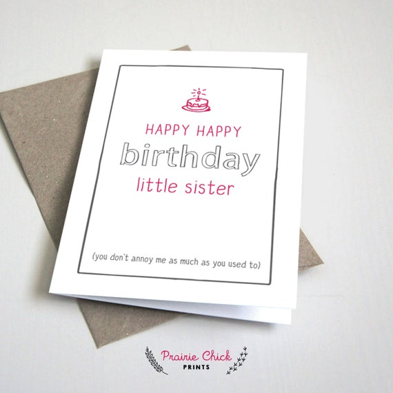 Happy Birthday Little Sister CARD Funny Siblings