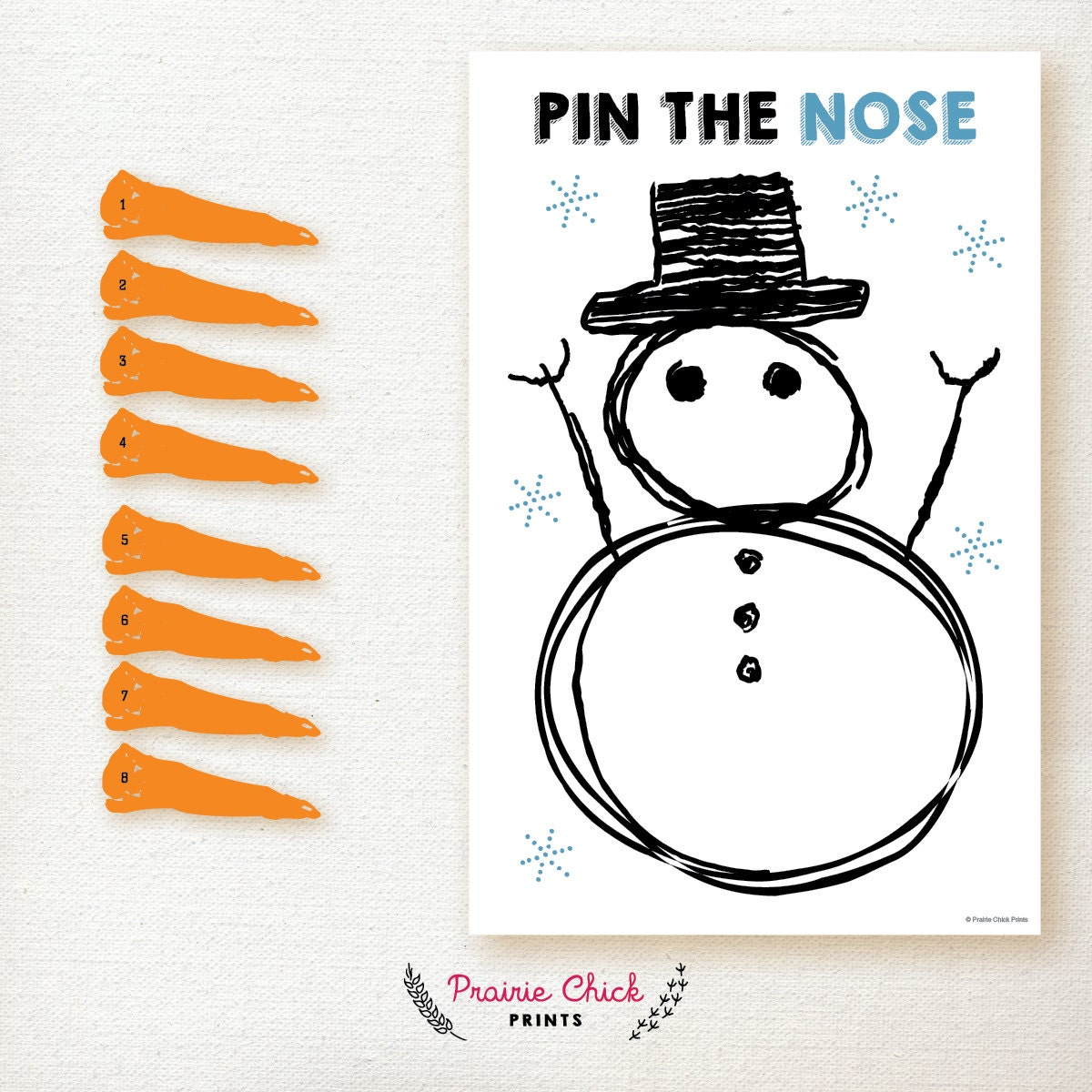 Snowman Pin The Carrot Nose Party Game Birthday Party Game Etsy