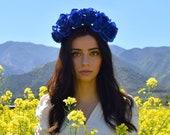 Classic Blue Flower Crown Headpiece - Wedding - Day of the Dead - Sugar Skull - Carnival - Music Festival - Halloween - Headband - Bridal