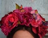 Violet Flame Flower Crown Headpiece - Day of the Dead - Sugar Skull - Floral Headband - Halloween - Cinco De Mayo - Fiesta