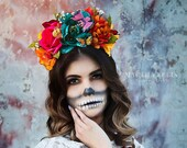 Flower Crown Headpiece - Day of the Dead - Sugar Skull - Floral Headband - Halloween - Cinco De Mayo - Fiesta - Music Festival - Costume