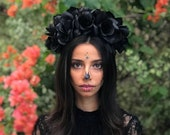 Midnight Rose Classic Black Flower Crown - Goth - Day of the Dead - Sugar Skull - Carnival