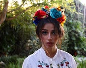 Over the Rainbow Flower Crown Headpiece - Day of the Dead - Sugar Skull - Floral Headband - Halloween - Cinco De Mayo - Fiesta