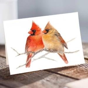 Winter Holiday Card Pair of Northern Cardinals Note Card Set