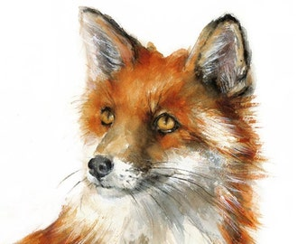 Red Fox - Giclee Print from my original watercolor painting - Kids Wall Art - Wildlife Animal Illustration