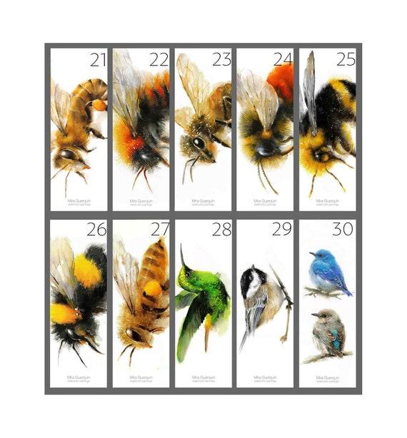 Watercolor Bookmarks - Set of 10 bookmarks of your choice. Raven Wolf Bluebird Bee Owl Cardinal Hummingbird Bumblebee