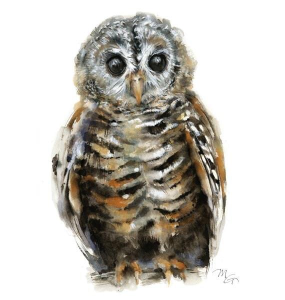 Baby Owl Watercolor Art Print - Modern Owl Decor - Wildlife Owl Painting - Woodland Owl Portrait - Baby Owl Home Decor - Kids Wall Art