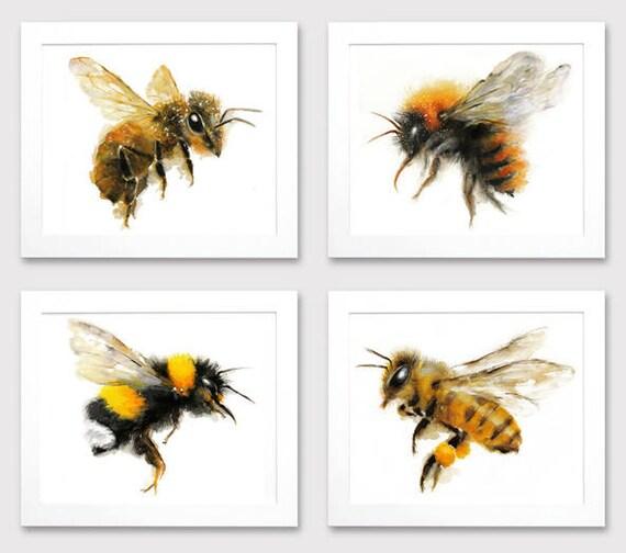 Honey Bee Watercolor Giclee Print