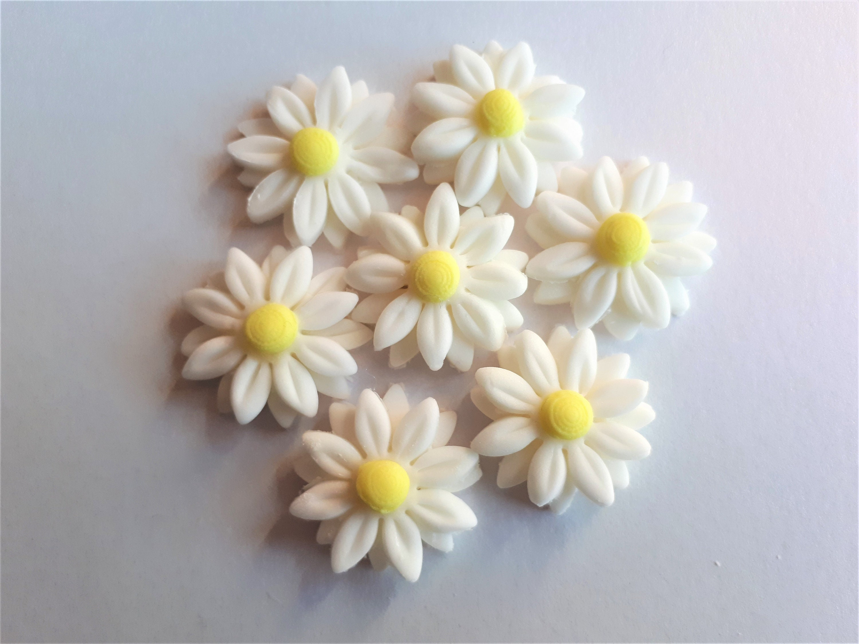 Pretty White Edible Daisy Sugar Flowers Cake Toppers Pk 18 Spring
