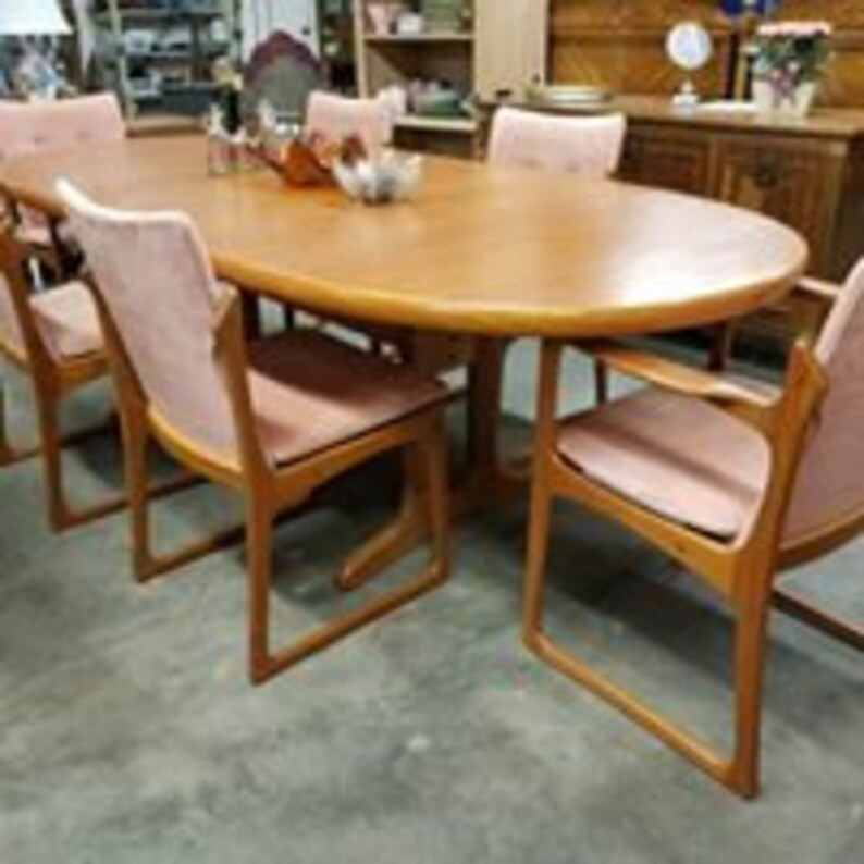 Danish Modern Teak Table 6 Dining Chairs By Vamdrup Etsy
