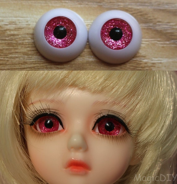 18mm Hand Painting BJD Doll Eyes Blood Red Acrylic Half Ball