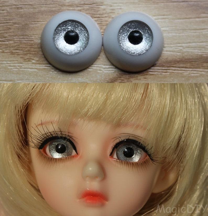 10mm Hand Made BJD Doll Eyes Pearlized Orange Acrylic Half Ball