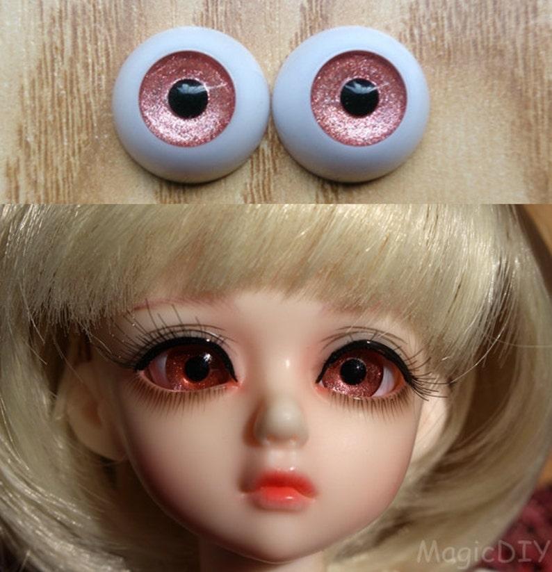 12mm Hand Made BJD Doll Eyes Pearlized Orange Acrylic Half Ball