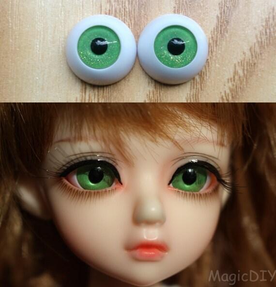22mm Hand Made BJD Doll Eyes Pearlized Green Acrylic Half Ball