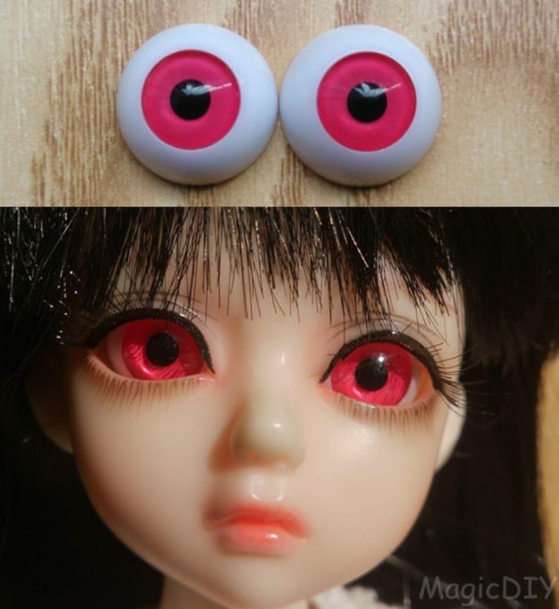 26mm Hand Made BJD Doll Eyes Pearlized Orange Acrylic Half Ball