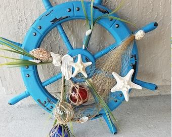 Blue Ship Wheel Wall Hanging