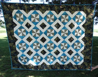 "Lap Quilt in Teal and Black colors,  56""w x 72""h"