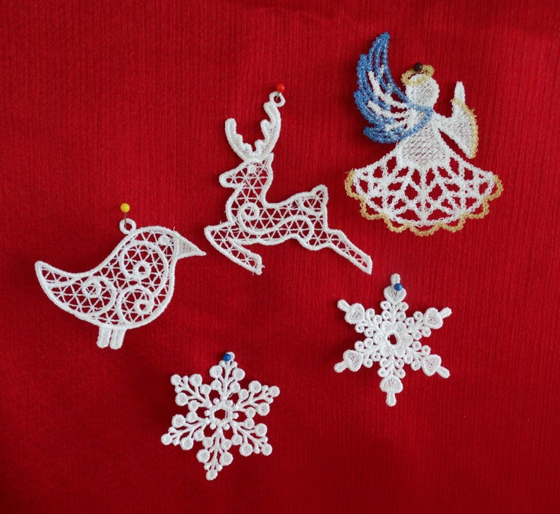 Machine Embroidered Christmas Lace Ornaments Collection Set Of 5