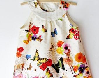 Girls Floral Dress, Girl Toddler Dress, Baby Dress, Woodland Flower Girls Tunic Dress, First Birthday, Girls Spring Dress, Summer Dress