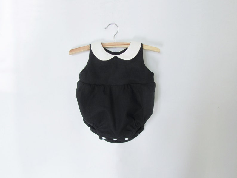 e69a2a0c6c08 Black Rompers for Baby Boy   Girl Linen Rompers Toddler
