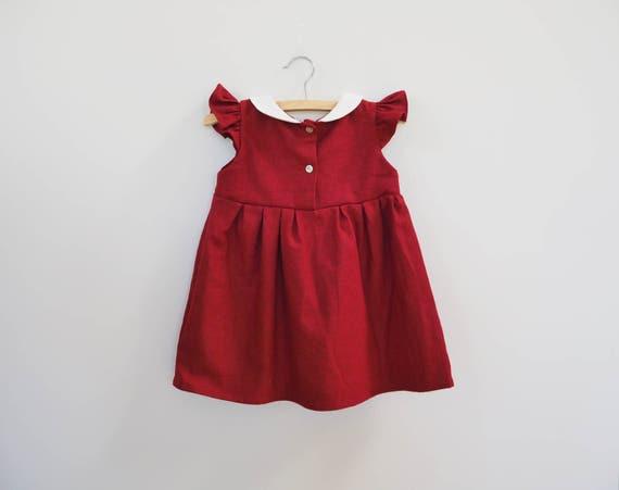 Babys Mädchen Kleinkind Lange Ärmel Baumwolle Leinen Vintage Party Kleid Kleid