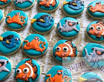 2 Dozen Mini Finding Dory Decorated Cookies Set