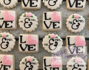 2 Dozen Mini Wedding Love Decorated Cookies