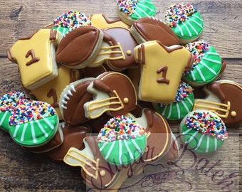 2 Dozen Mini Football Themed Decorated Cookies