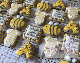 2 Dozen Mini What Will it Bee Baby Shower Decorated Cookies Set