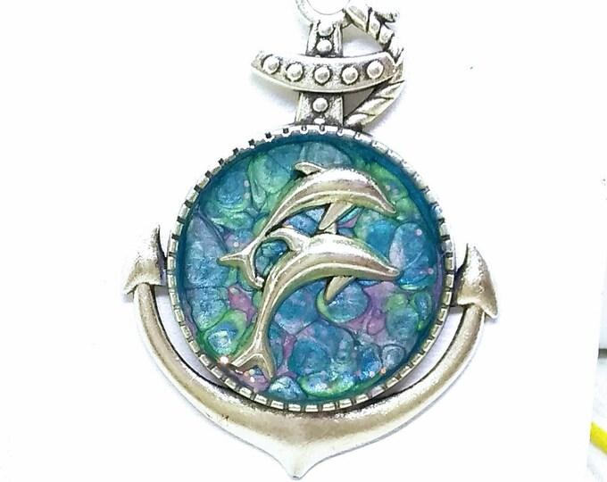 Anchor Necklace - Anchor Pendant - Dolphins Necklace - Dolphins Pendant - Nautical Pendant