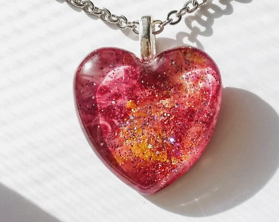 Pink Heart Pendant with Chain Necklace