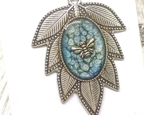 Leaf Necklace - Bee Necklace - Leaf and Bee Necklace - Botanical Necklace - Statement Necklace