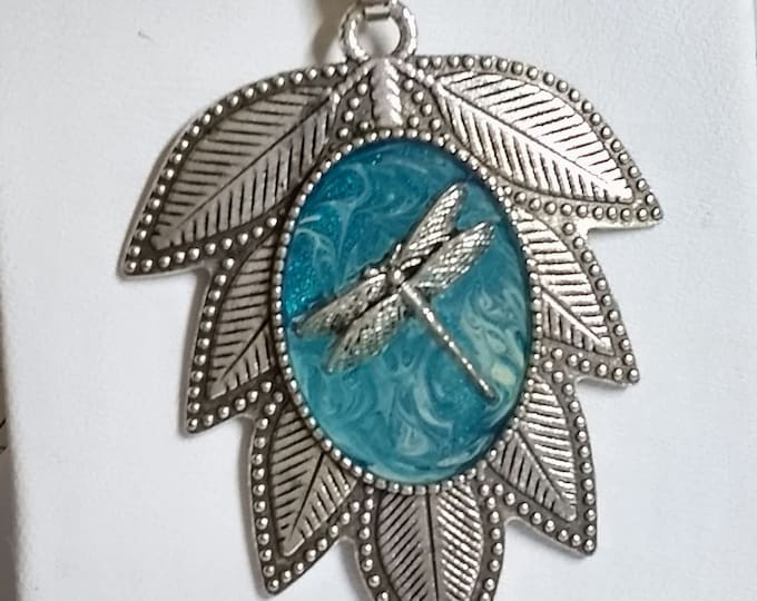 One of a kind Dragonfly and Leaf Pendant with Chain Necklace