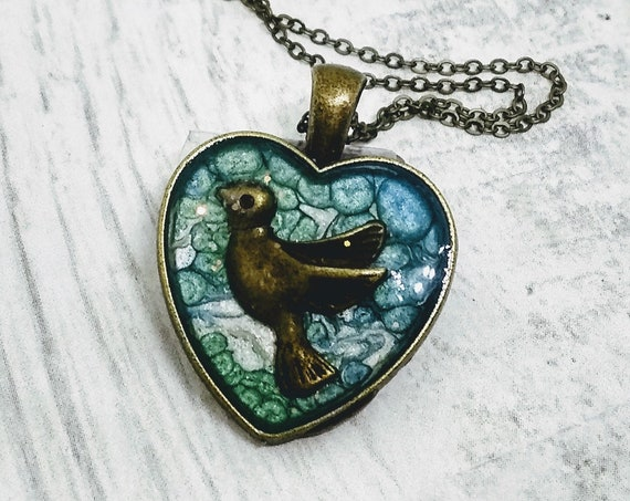 Bird Necklace - Heart Necklace - Womens Gift - Hand Made Necklace - Hand Made Jewelry