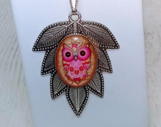 Pink Owl Necklace - Leaf Necklace - Leaf and Owl Pendant - Statement Necklace