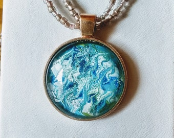 Blue and White Swirl Pendant - Blue and White Necklace - Hand Painted Necklace
