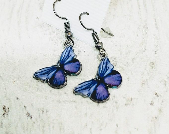 Butterflies - Butterfly Earrings - Purple Butterfly Earrings
