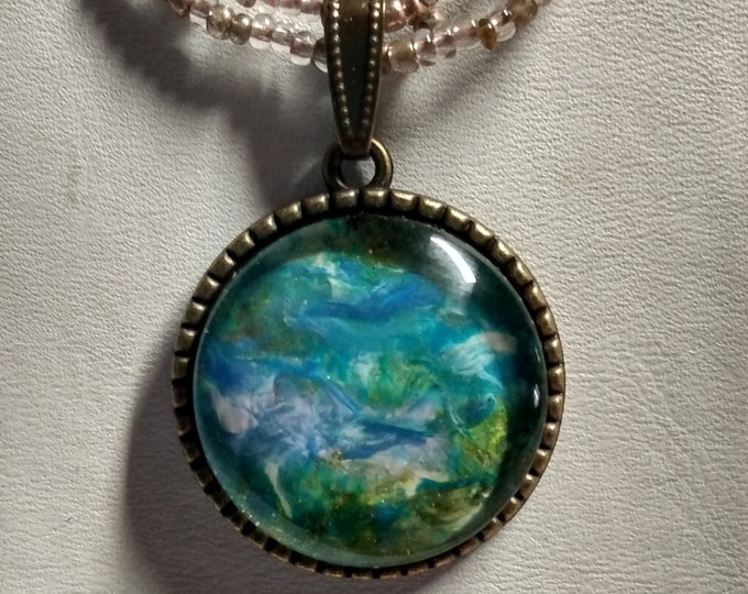 Green Blue Pendant - Green Blue Necklace - Watercolor Necklace
