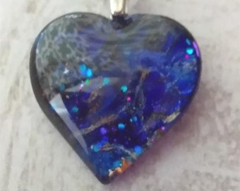 Heart Pendant - Heart Necklace - Blue Heart Necklace - Hand Made Painted