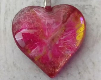 Heart Pendant - Heart Necklace - Pink Heart Necklace - Hand Made Painted