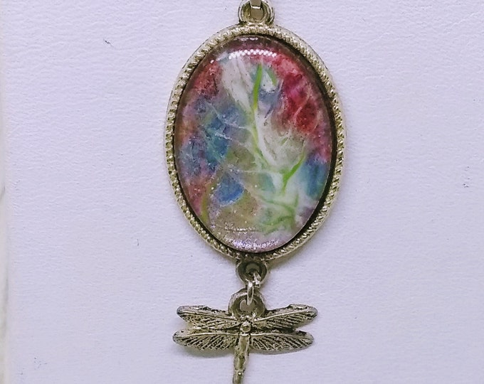 Dragonfly Necklace - Watercolor-Effect Necklace - State,emt Mecl;ace - Hand Painted Necklace