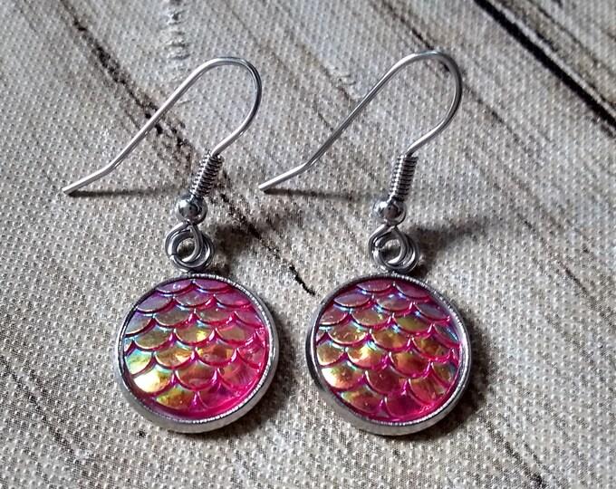Mermaid Scales Earrings - Pink Mermaid Scales - Mermaid Earrings