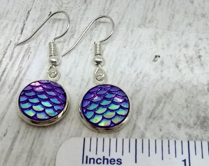 Mermaid Scales Earrings - Mermaid Earrings - Purple Earrings