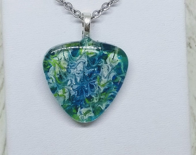 Green and Blue Pendant - Painted Glass Pendant - Statement Necklace